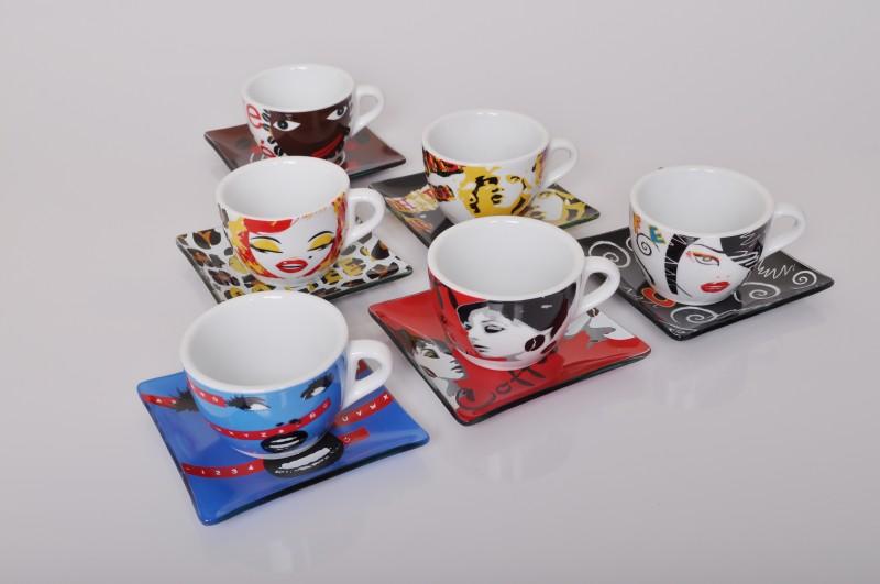 bocelli 6er set design cappuccino tassen mit glasuntertasse kaffee cafe. Black Bedroom Furniture Sets. Home Design Ideas