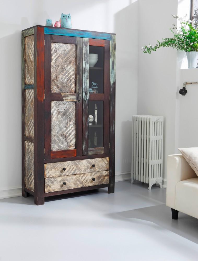 Glasvitrine / Vitrine Goa, Mango Massivholz Vintage 100x190 cm Wolf Möbel 3511   eBay