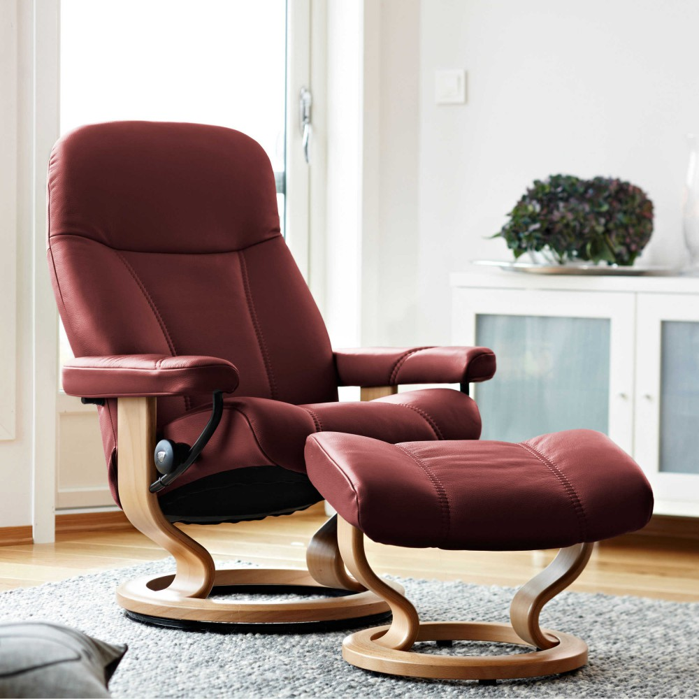 stressless ambassador sessel bequemsessel relaxsessel mit hocker burgundy large ebay. Black Bedroom Furniture Sets. Home Design Ideas