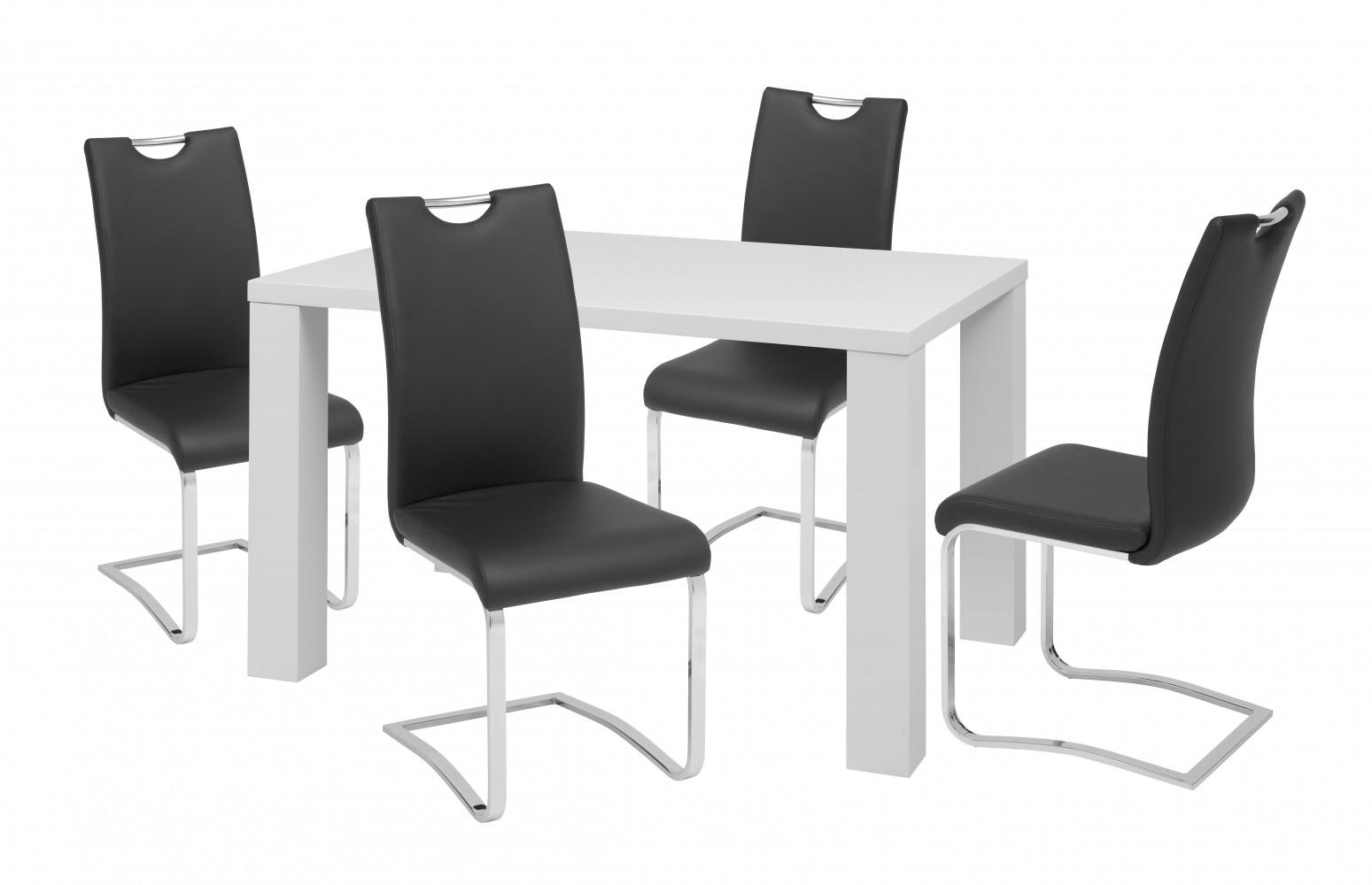tischset glossy mit 4 st hlen st hle tische wohnzimmer esszimmer modern neu 4045101103362 ebay. Black Bedroom Furniture Sets. Home Design Ideas