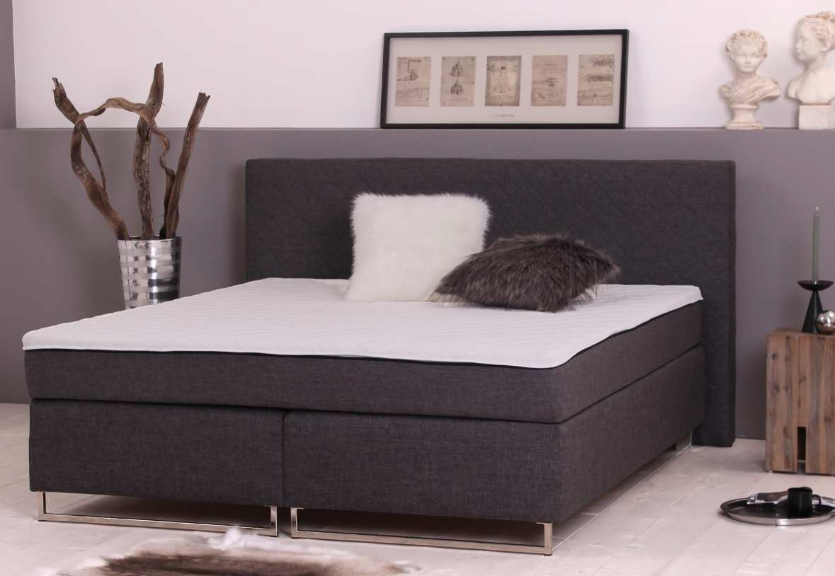 boxspringbett bx 760 mit topper designerbett doppelbett modern bett 180x200 cm ebay. Black Bedroom Furniture Sets. Home Design Ideas