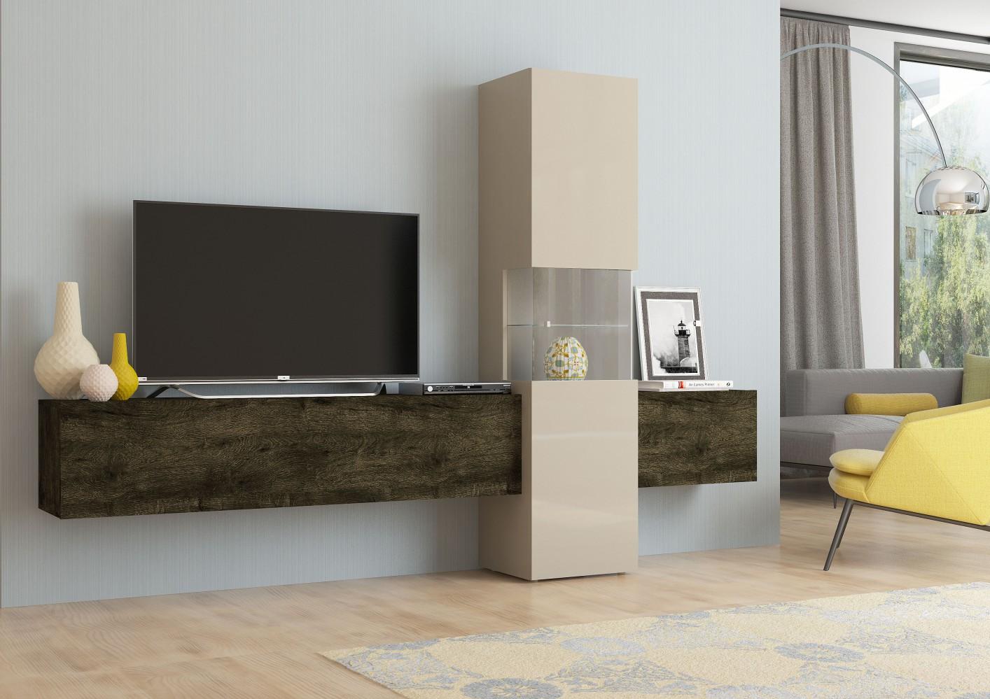 Design Wohnwand INCONTRO Wohnzimmerschrank TV Schrank Mediawand Anbauwand Italy