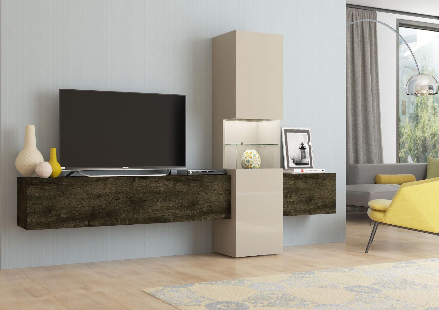 tecnos wohnwand incontro 3 tlg sandfarben eiche dunkel. Black Bedroom Furniture Sets. Home Design Ideas