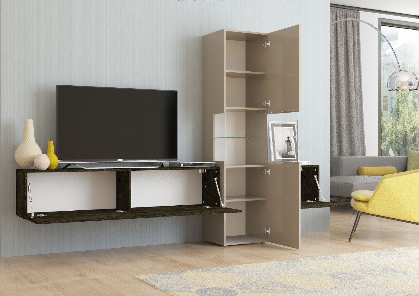 tecnos wohnwand incontro 3 tlg sandfarben eiche dunkel. Black Bedroom Furniture Sets. Home Design Ideas