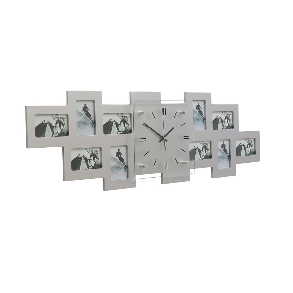 desinger wanduhr 10 bilder bilderrahmen silber bilderuhr fotouhr uhr zeit deko ebay. Black Bedroom Furniture Sets. Home Design Ideas