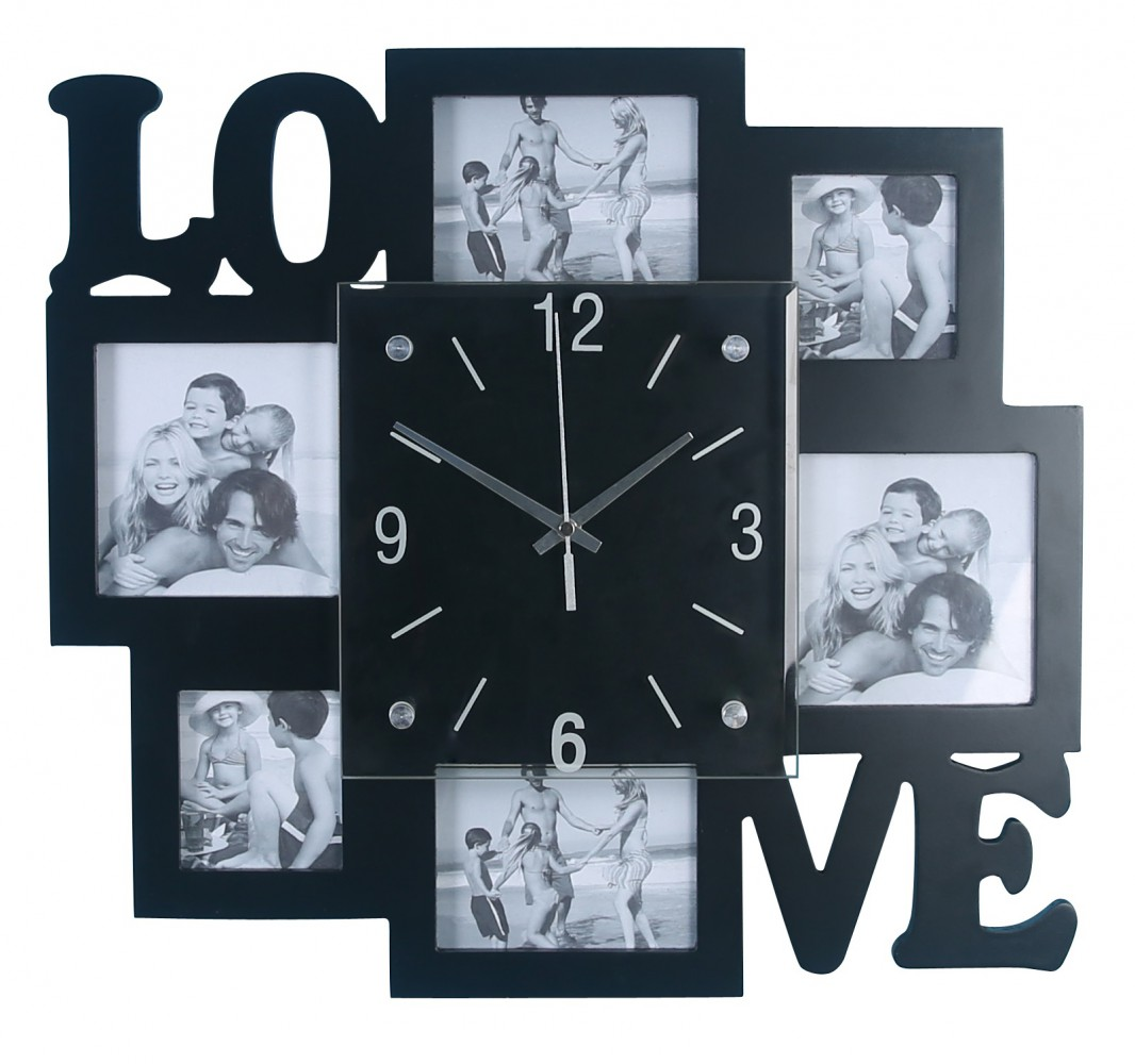 foto wanduhr fotogalerie uhr bilderrahmen fotocollage love bilderuhr ebay. Black Bedroom Furniture Sets. Home Design Ideas