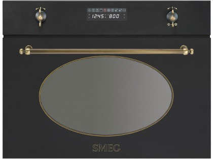 Smeg Kompakt-Microwelle mit Grill SC845MAO9 Anthrazit / Messing