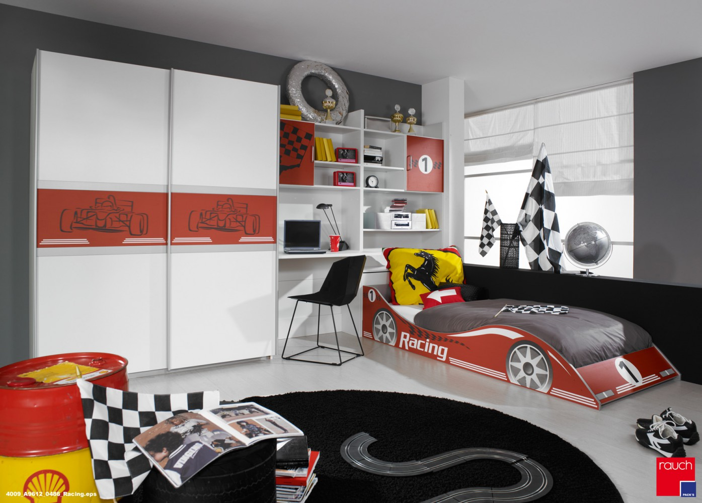 rauch jugendzimmer kinderzimmer autobett schrank. Black Bedroom Furniture Sets. Home Design Ideas