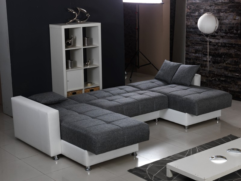moderne polsterecke in u form mit bettfunktion inkl kissen wei grau. Black Bedroom Furniture Sets. Home Design Ideas