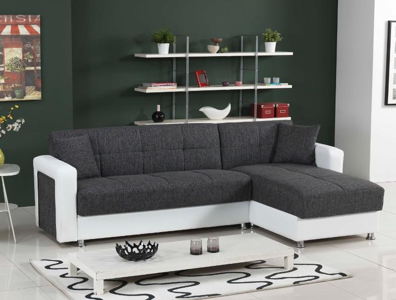 moderne polsterecke in l form mit bettfunktion inkl kissen wei grau. Black Bedroom Furniture Sets. Home Design Ideas