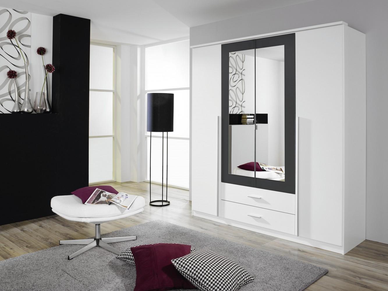 rauch krefeld kleiderschrank 4 trg alpinweiss grau. Black Bedroom Furniture Sets. Home Design Ideas