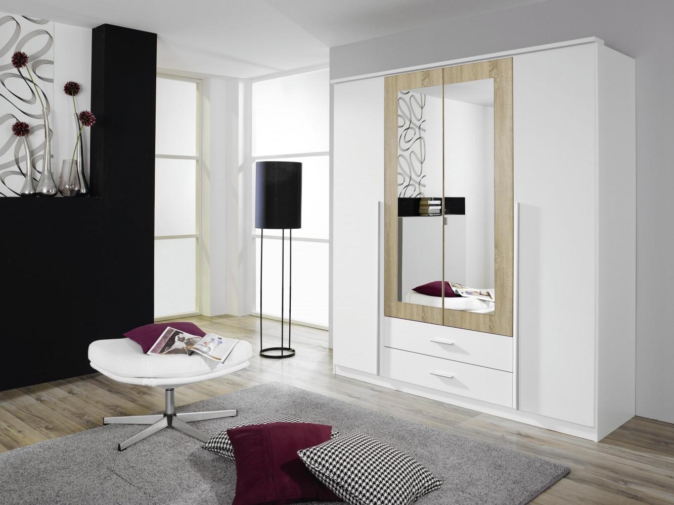 rauch krefeld kleiderschrank 4 trg alpinweiss eiche sonoma mit spiegel b181 cm. Black Bedroom Furniture Sets. Home Design Ideas