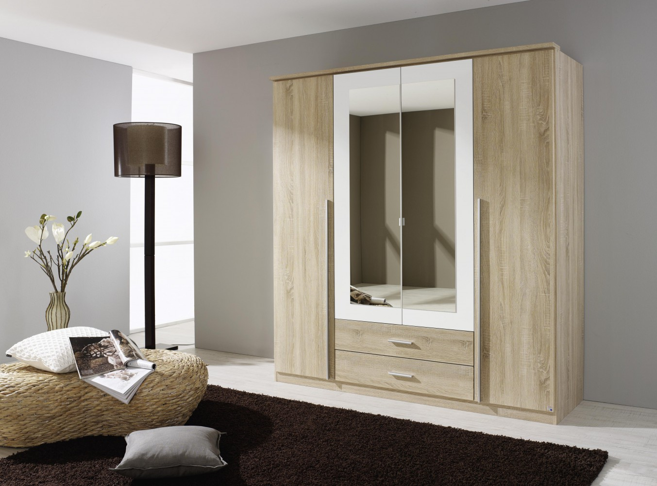 rauch krefeld kleiderschrank 4 trg eiche sonoma alpinweiss mit spiegel b181 cm. Black Bedroom Furniture Sets. Home Design Ideas