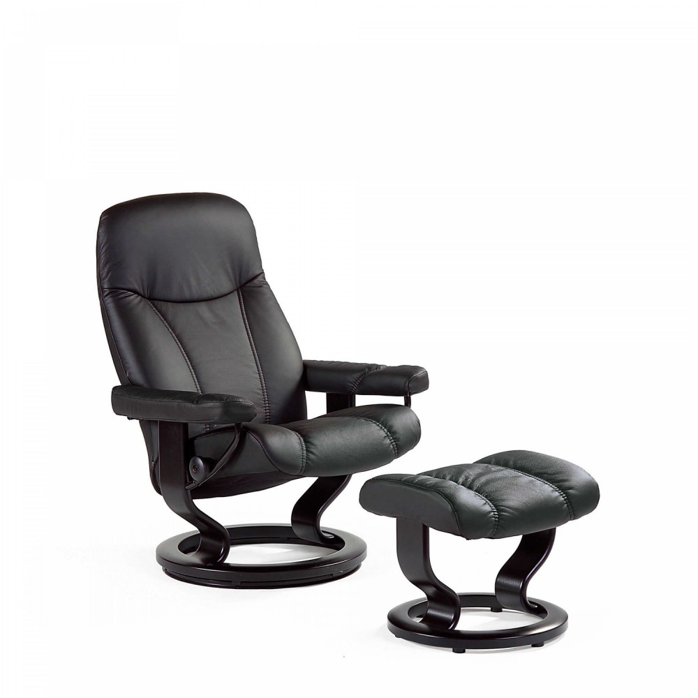 stressless consul l sessel bequemsessel relaxsessel mit hocker schwarz large. Black Bedroom Furniture Sets. Home Design Ideas