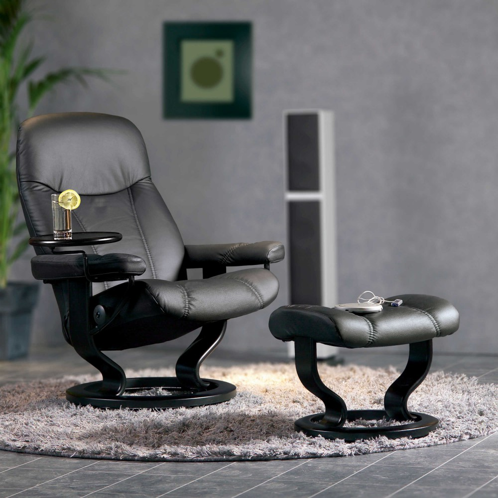 stressless consul l relaxsessel mit hocker schwarz large, Hause deko