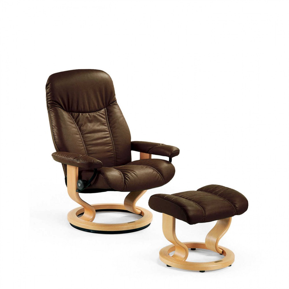 stressless consul l relaxsessel mit hocker braun large. Black Bedroom Furniture Sets. Home Design Ideas