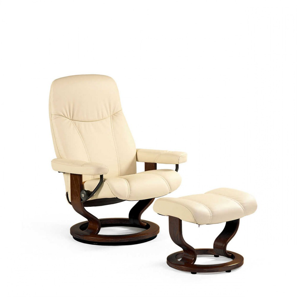 stressless consul s sessel bequemsessel relaxsessel mit hocker cream small ebay. Black Bedroom Furniture Sets. Home Design Ideas
