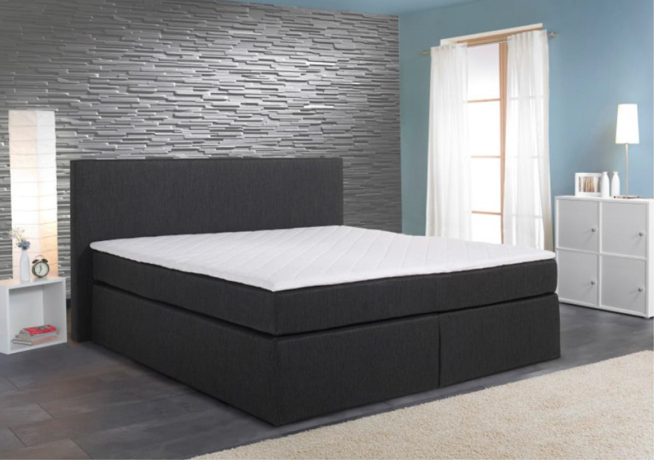 boxspringbett k ln 180x200 cm anthrazit inkl topper box spring bett king neu ebay. Black Bedroom Furniture Sets. Home Design Ideas