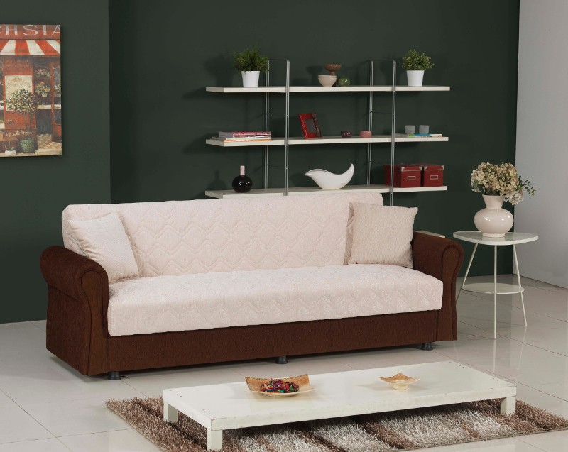 bequemes funktionssofa roma mit bettfunktion inkl kissen beige braun. Black Bedroom Furniture Sets. Home Design Ideas