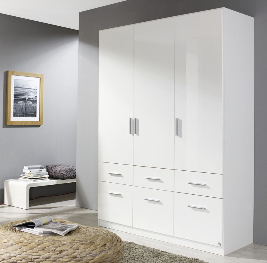 rauch celle kleiderschrank 3 trg hochglanz weiss 136 cm. Black Bedroom Furniture Sets. Home Design Ideas