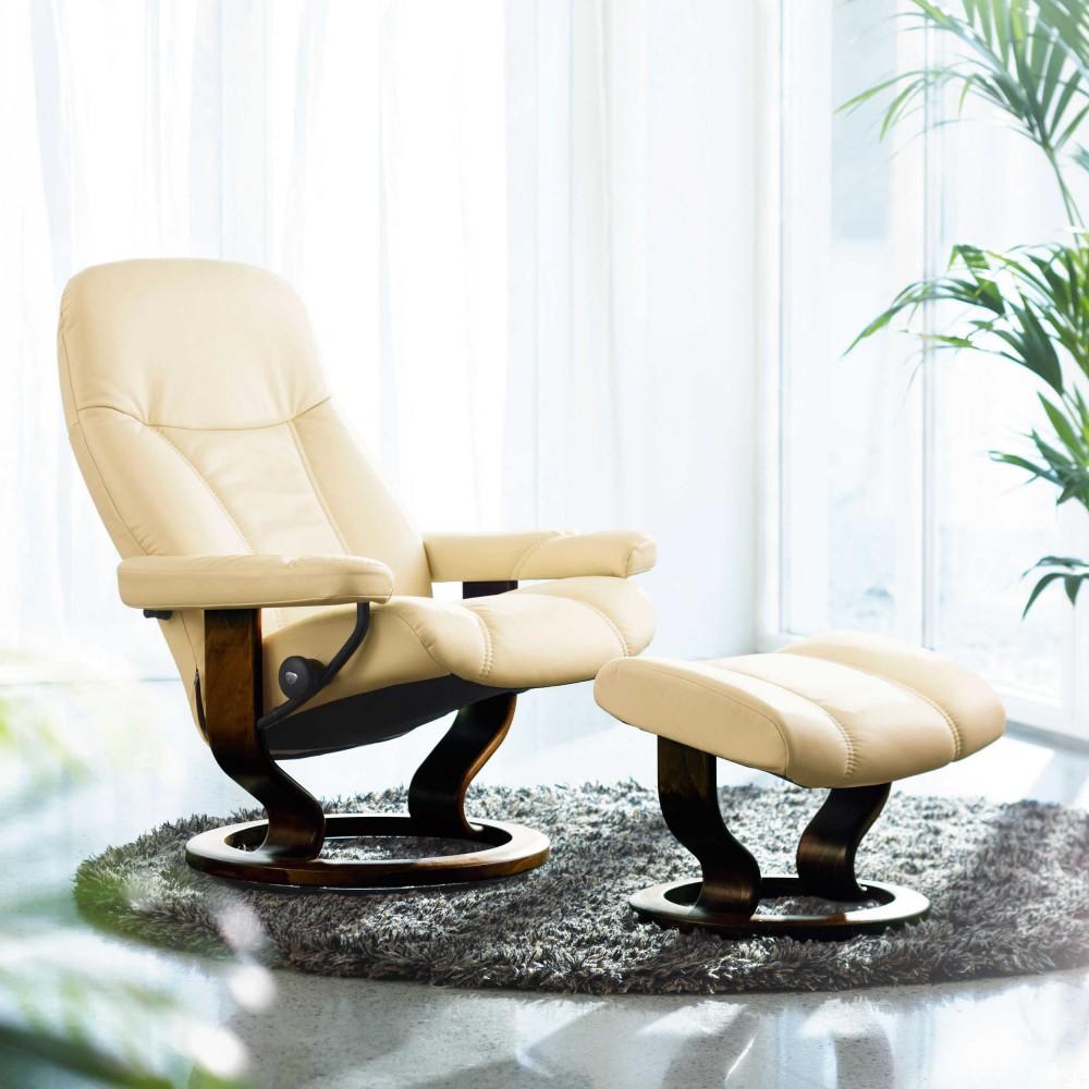 Stressless Consul L Relaxsessel mit Hocker cream large