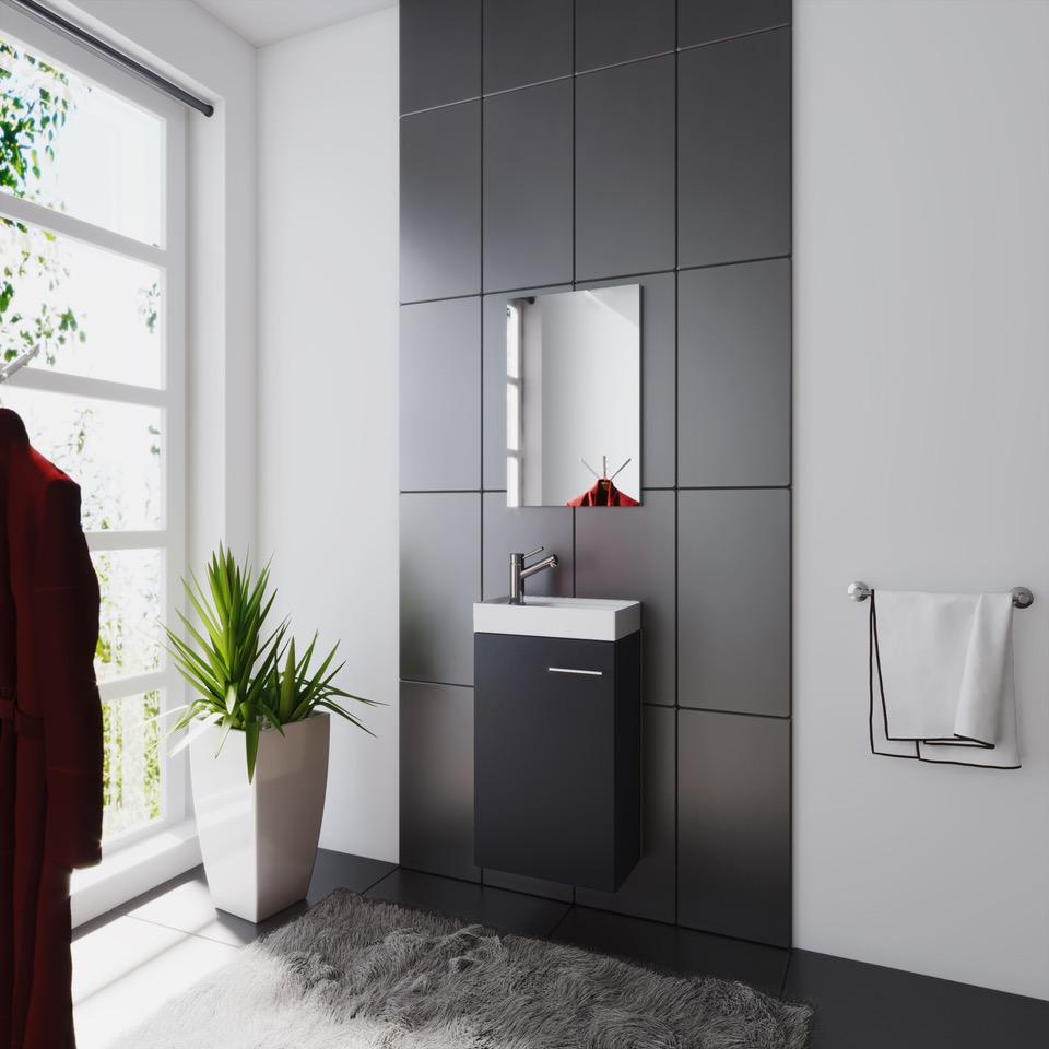 Waschplatz Badmöbel Waschtisch Waschbecken Spiegel Gäste WC ...