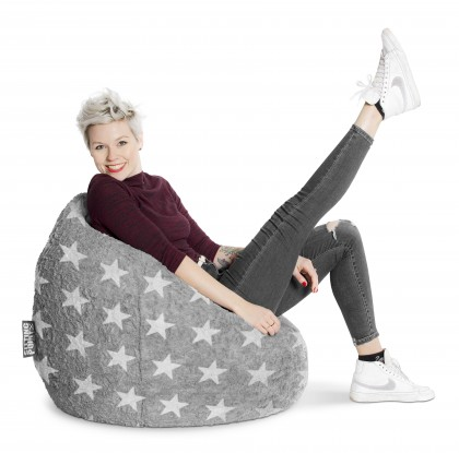 Sitzsack BeanBag FLUFFY Stars grau XL 220l Sitting Point Magma – Bild 3