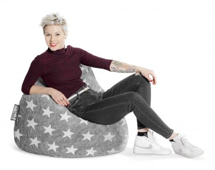 Sitzsack BeanBag FLUFFY Stars grau XL 220l Sitting Point Magma – Bild 4