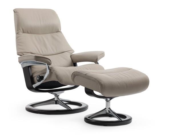 stressless view m relaxsessel mit hocker beige medium. Black Bedroom Furniture Sets. Home Design Ideas