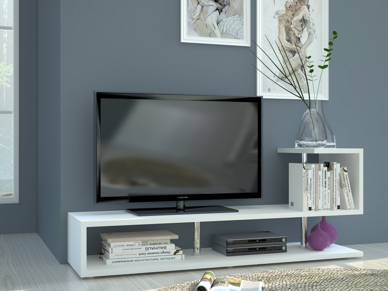 tecnos modern a tv lowboard breite 150cm wei. Black Bedroom Furniture Sets. Home Design Ideas