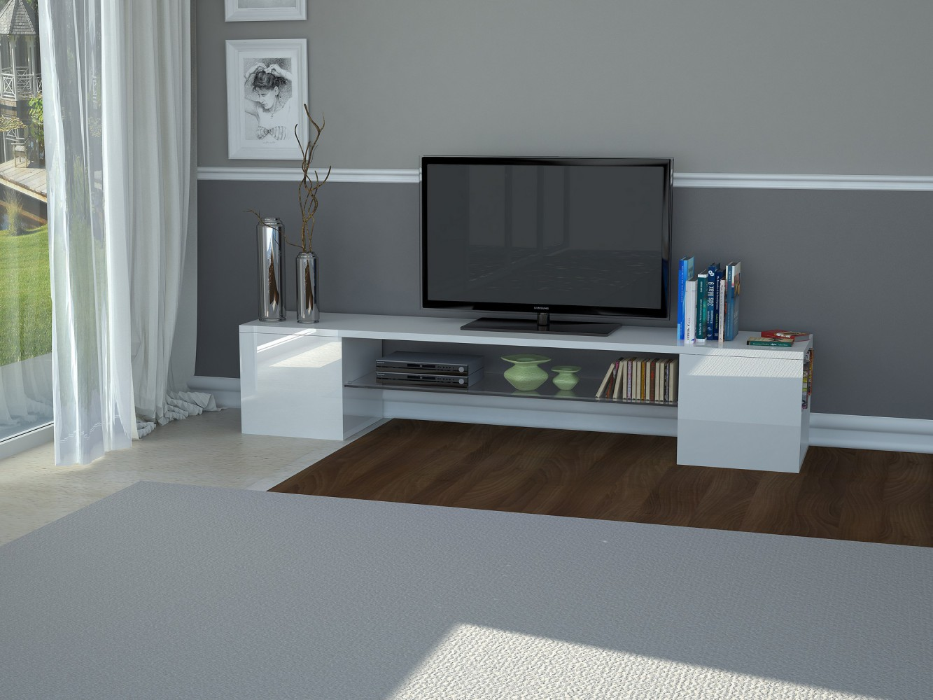 tecnos modern b tv lowboard breite 200cm wei. Black Bedroom Furniture Sets. Home Design Ideas