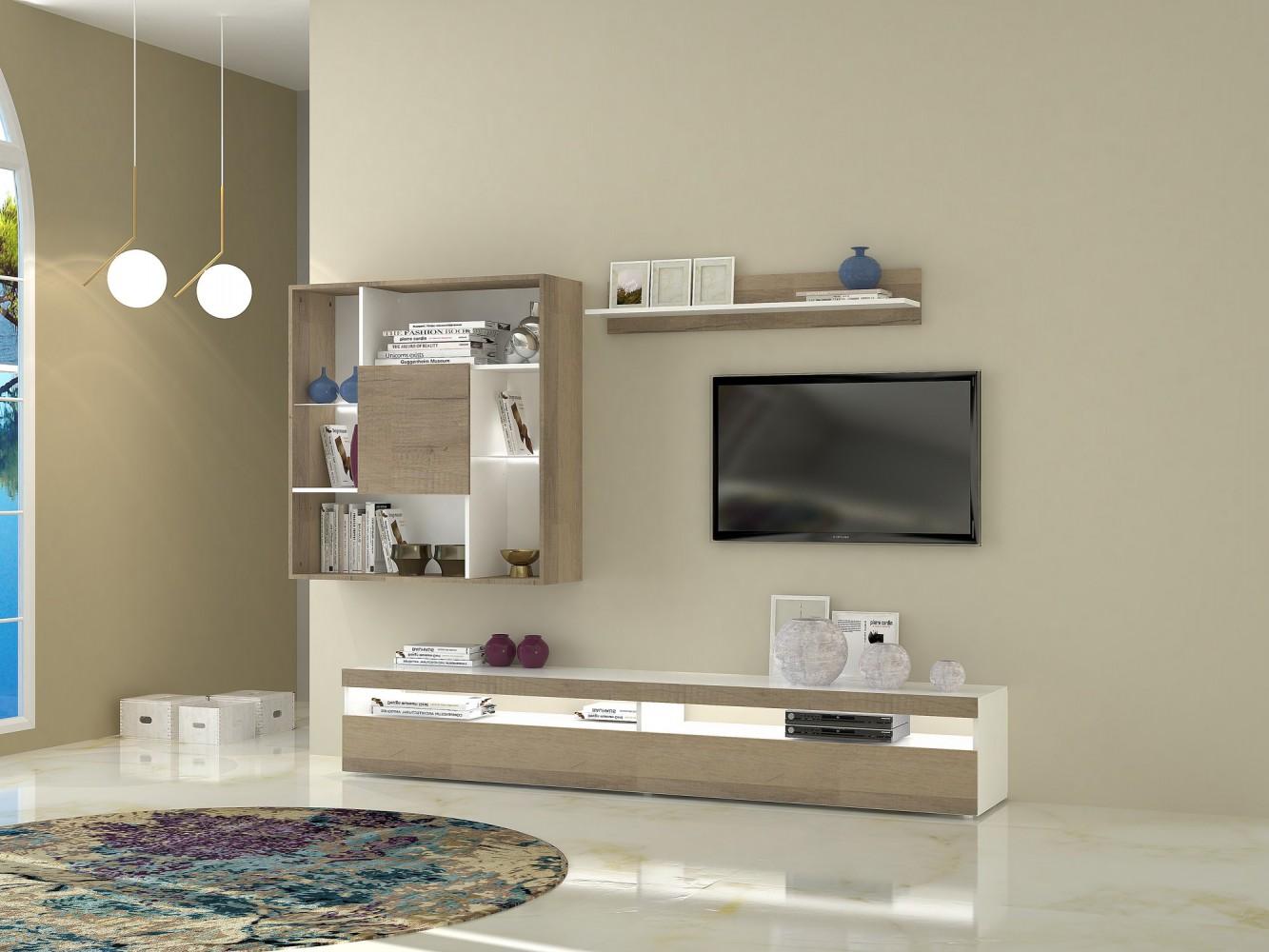 tecnos wohnwand alaska 3 tlg wei eiche hell. Black Bedroom Furniture Sets. Home Design Ideas