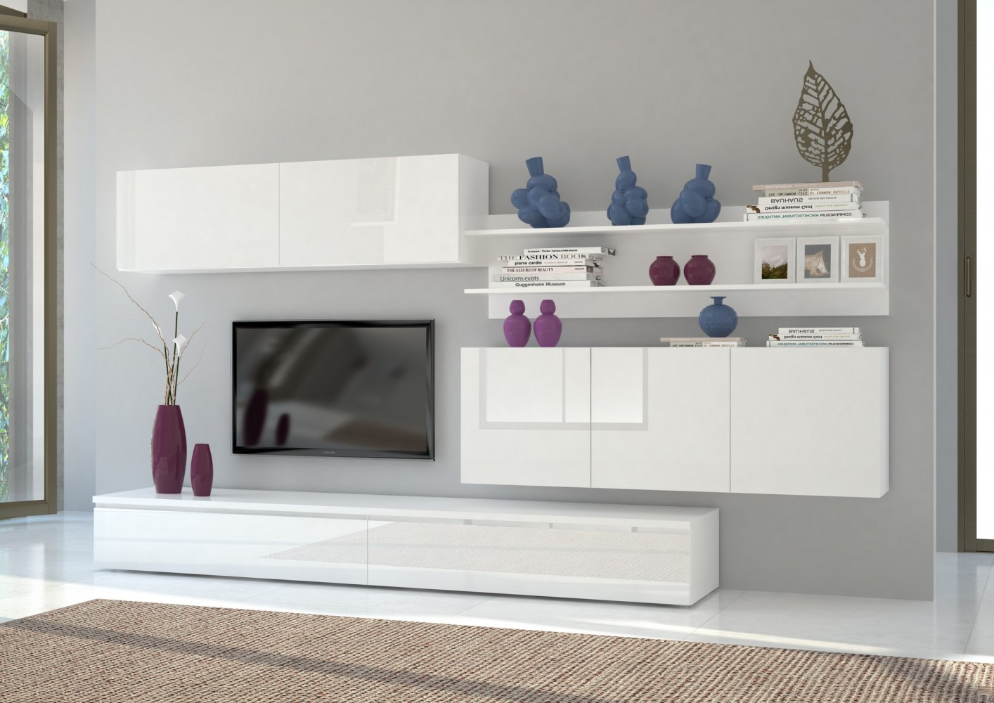tecnos wohnwand forte 4 tlg wei wei hochglanz. Black Bedroom Furniture Sets. Home Design Ideas