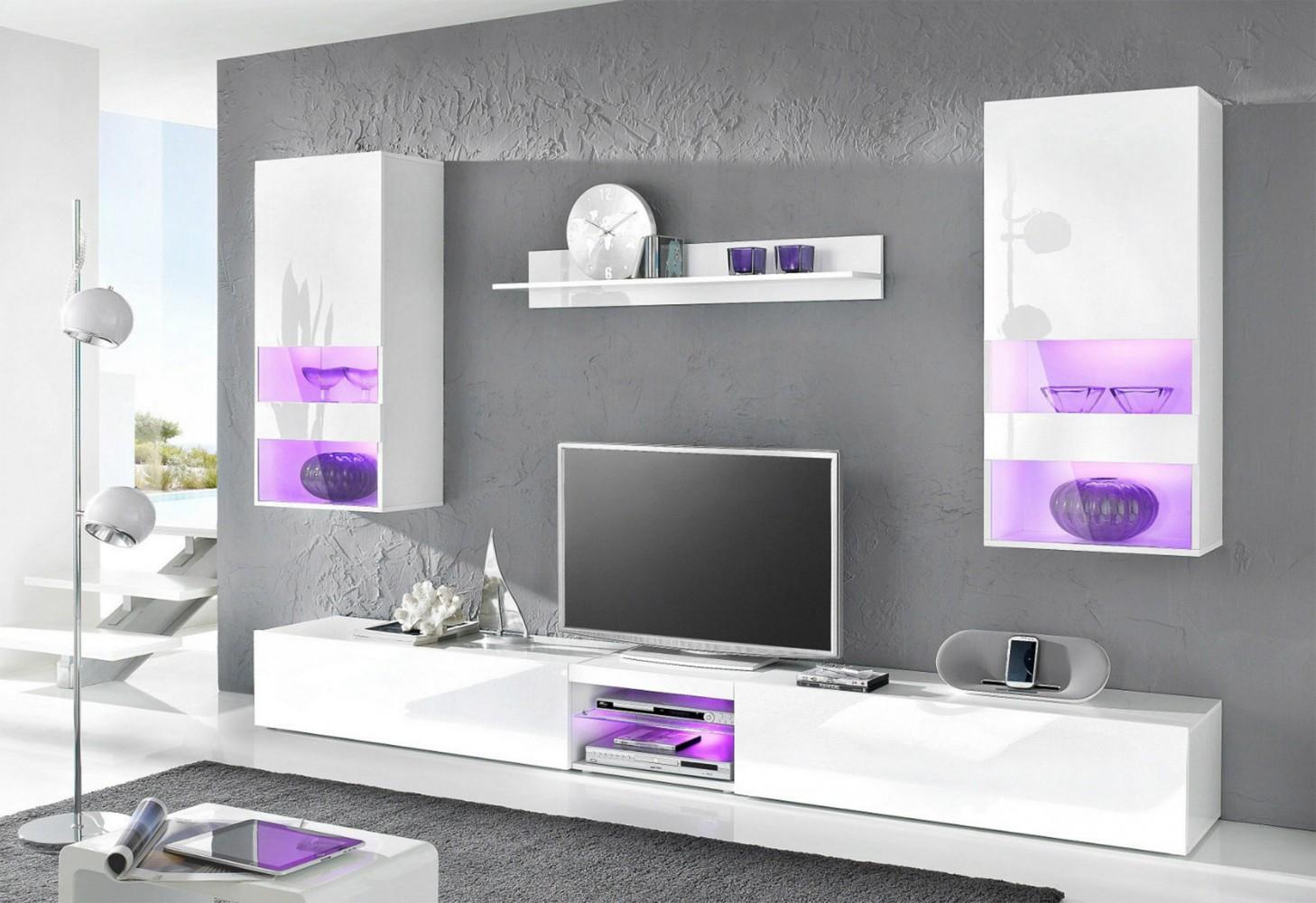 tecnos wohnwand neverland wei hochglanz wei matt. Black Bedroom Furniture Sets. Home Design Ideas