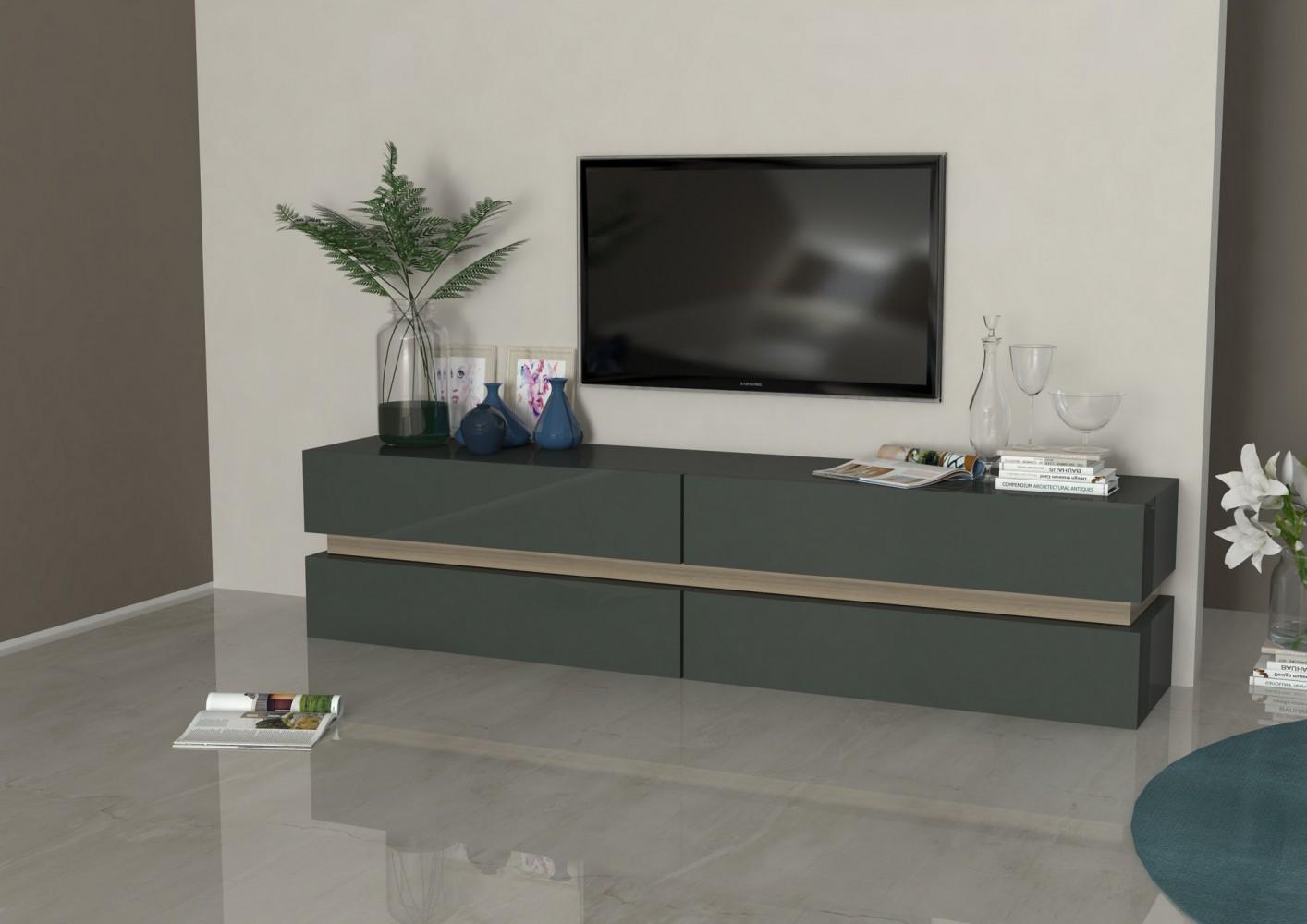 Tecnos ATHENA Lowboard, 200cm Wohnwand Mediwand Italian Design ...