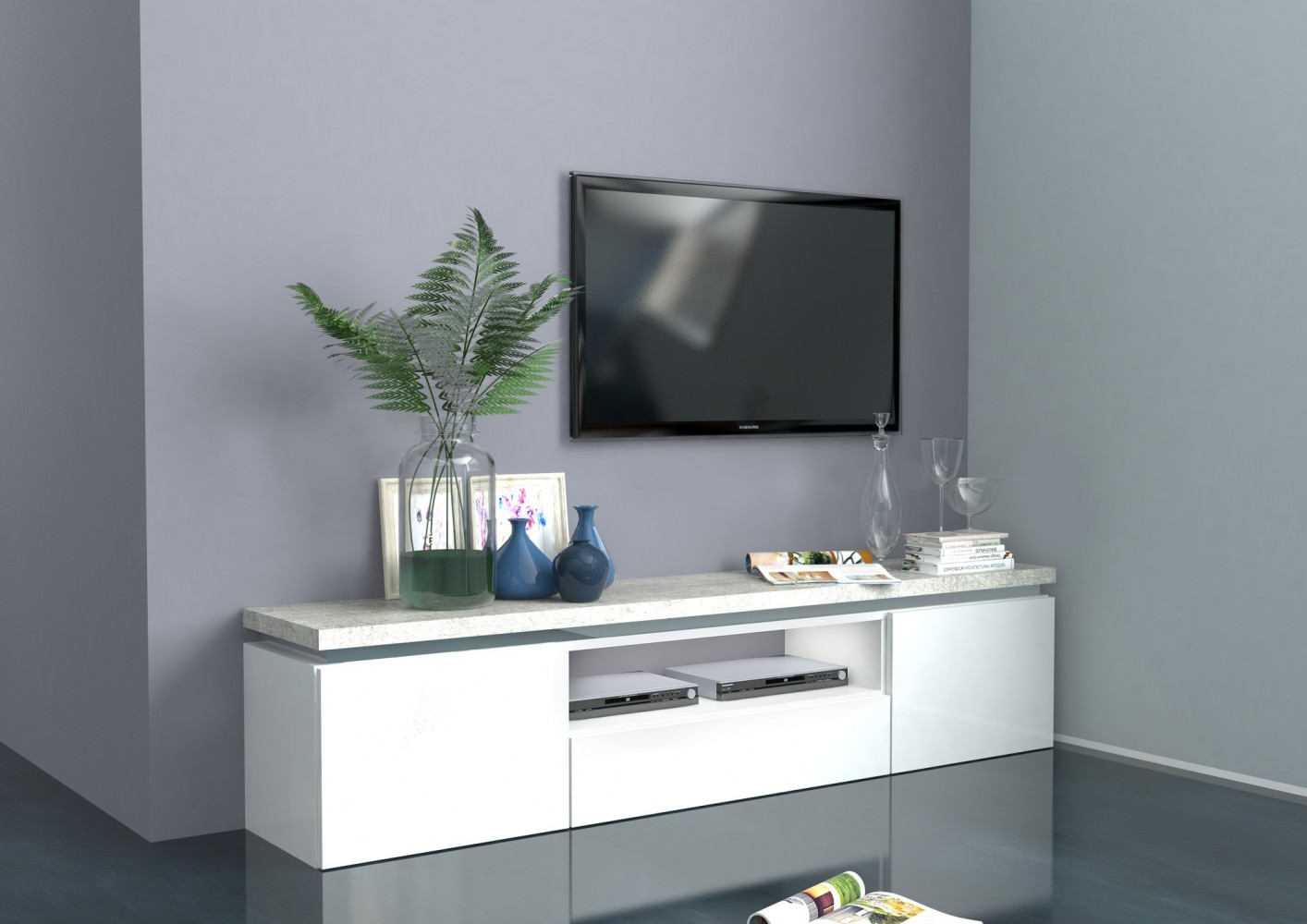 Tecnos GAZEBO Lowboard, 180cm Wohnwand Mediawand TV Italian Design ...