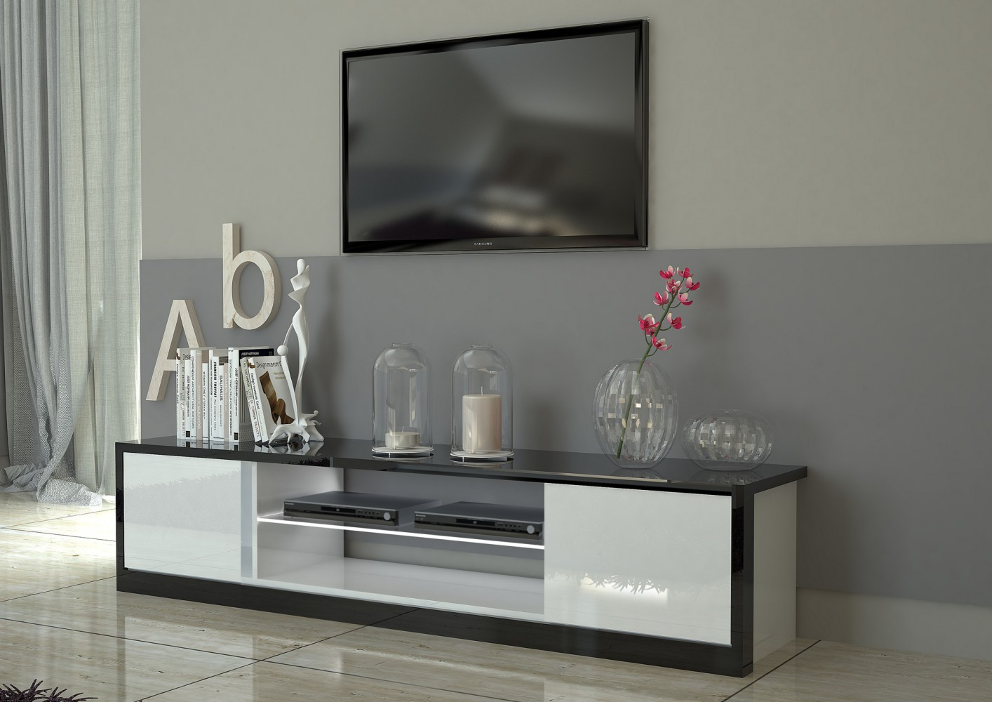 tecnos mito lowboard 180cm wohnwand mediawand italian design modern neu ebay. Black Bedroom Furniture Sets. Home Design Ideas