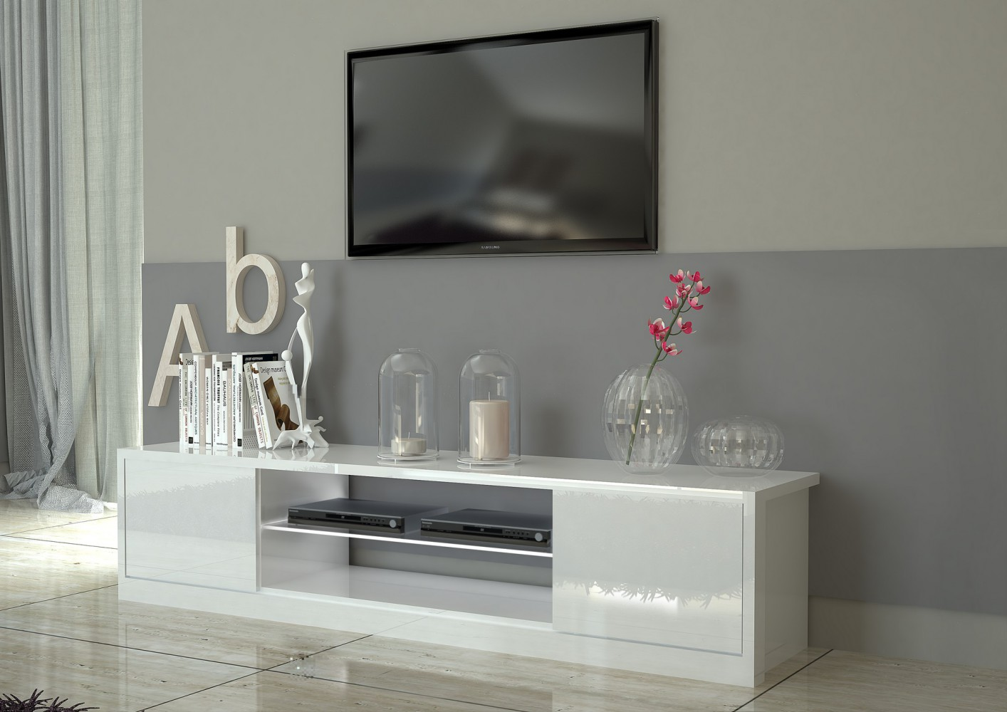 Tecnos MITO Lowboard, 180cm Wohnwand Mediawand Italian Design modern ...