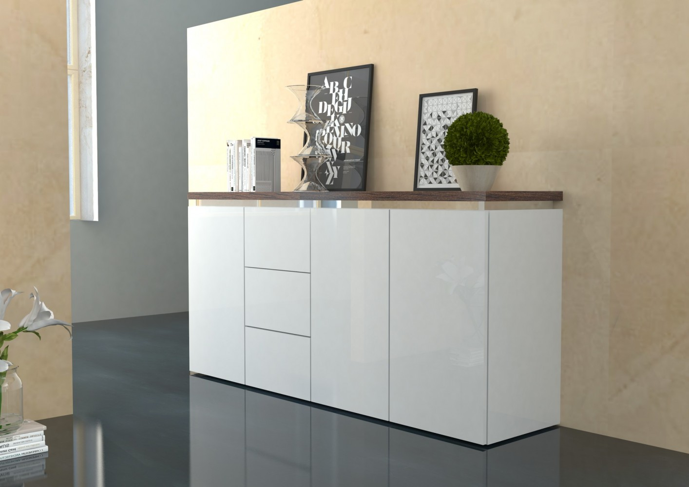tecnos gazebo sideboard highboard kommode mehrzweckschrank b cherregal modern ebay. Black Bedroom Furniture Sets. Home Design Ideas