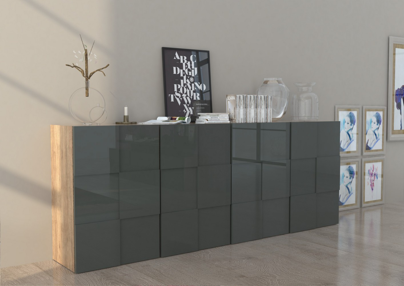 tecnos scacco sideboard 240cm highboard kommode mehrzweckschrank b cherregal ebay. Black Bedroom Furniture Sets. Home Design Ideas