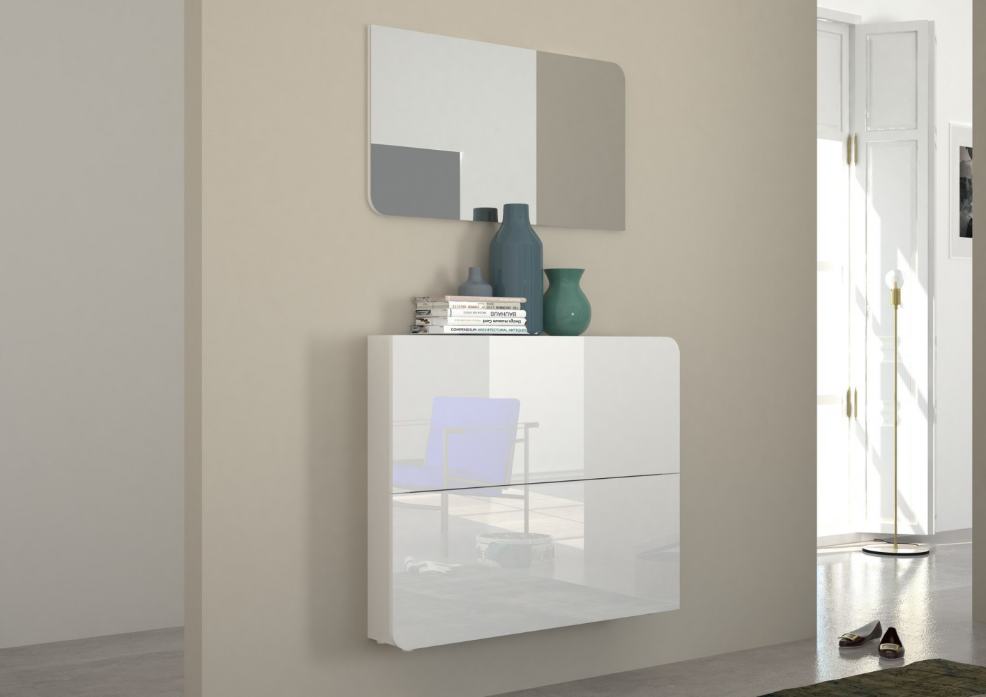 tecnos goccia garderobenkombination 2 tlg flur kommode paneel spiegel modern ebay. Black Bedroom Furniture Sets. Home Design Ideas