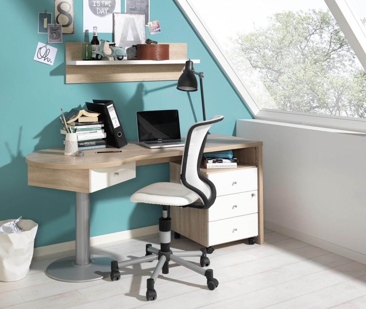 Wellemöbel Teenio Schreibtisch II Wildeiche/Reinweiss