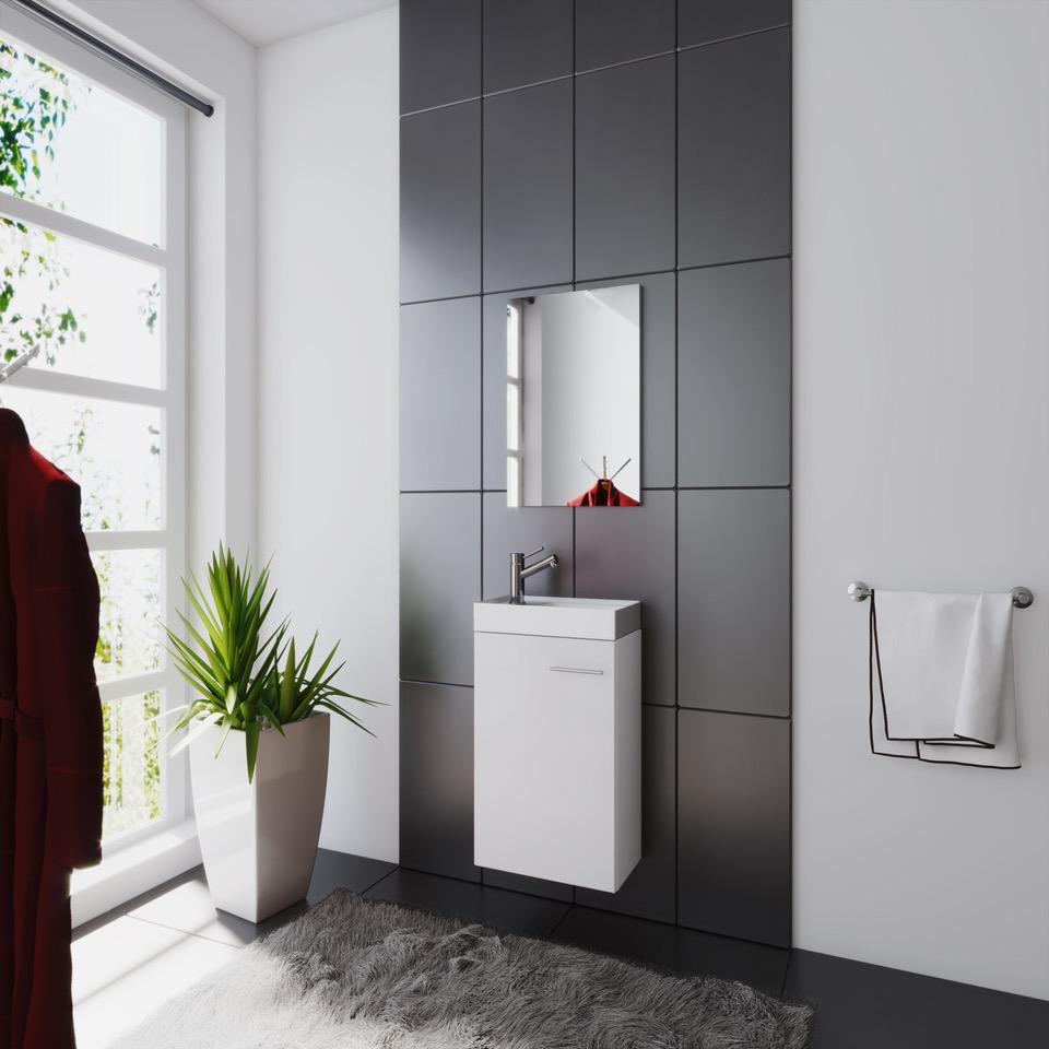 waschplatz badm bel set waschtisch keramik waschbecken spiegel g ste wc bologna. Black Bedroom Furniture Sets. Home Design Ideas