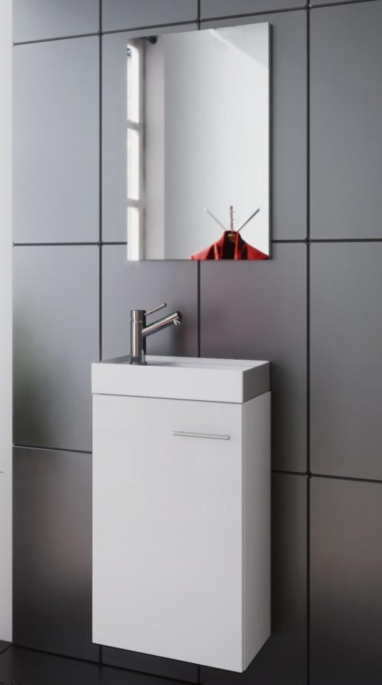 waschplatz badm bel set waschtisch keramik waschbecken spiegel g ste wc wei neu ebay. Black Bedroom Furniture Sets. Home Design Ideas