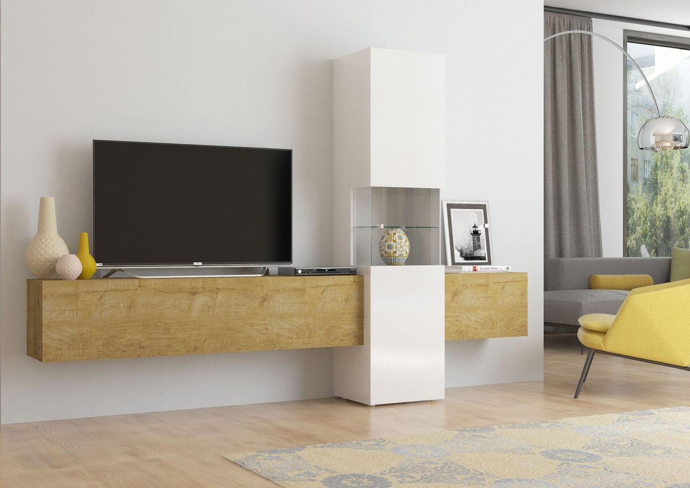 tecnos wohnwand incontro 3 tlg wei eiche hell. Black Bedroom Furniture Sets. Home Design Ideas