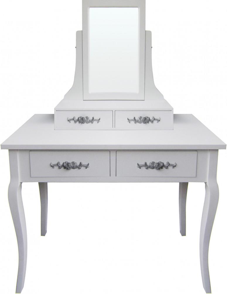 schminktisch weiss lianna mit spiegel und 4 schubladen. Black Bedroom Furniture Sets. Home Design Ideas