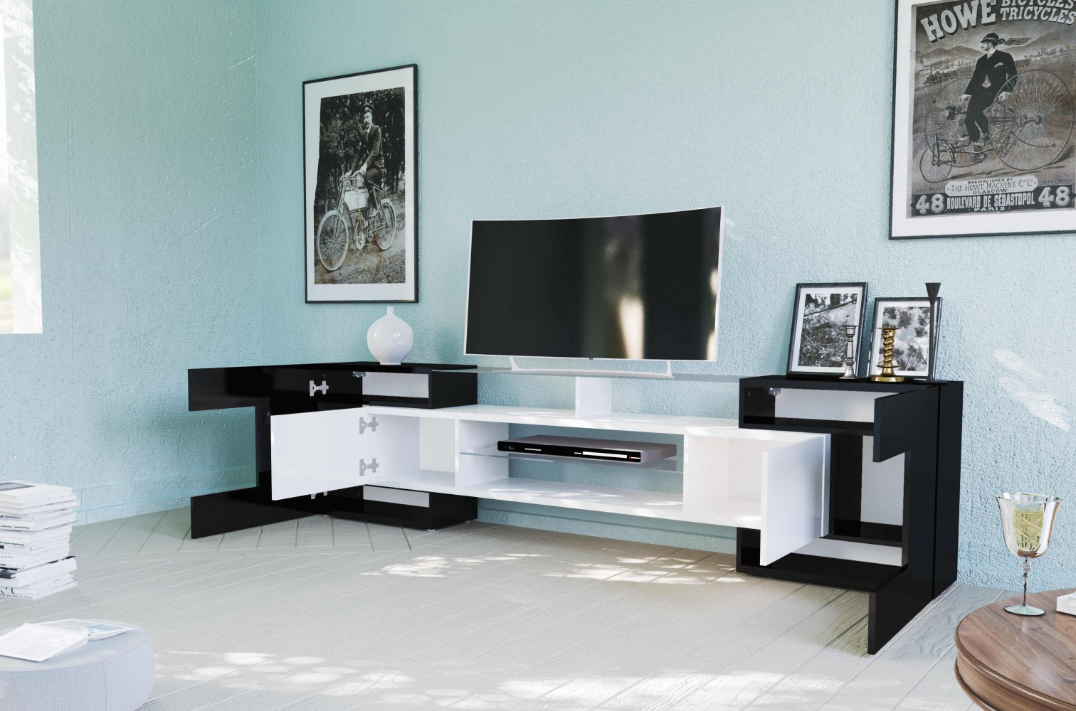 tecnos lowboard slave wei schwarz hochglanz mediawand tv design modern neu ebay. Black Bedroom Furniture Sets. Home Design Ideas