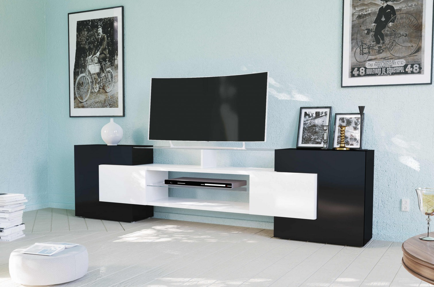 tecnos tv lowboard slave wei schwarz hochglanz. Black Bedroom Furniture Sets. Home Design Ideas